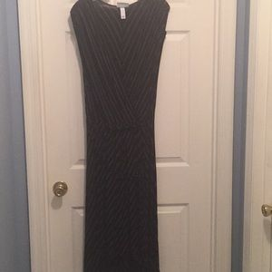 Pure Energy - Black/gray striped high-low dress
